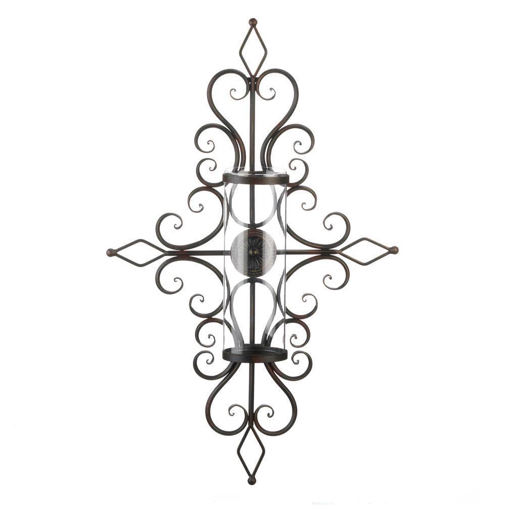 FLOURISHED WALL SCONCE Hurricane Glass Pillar Candle