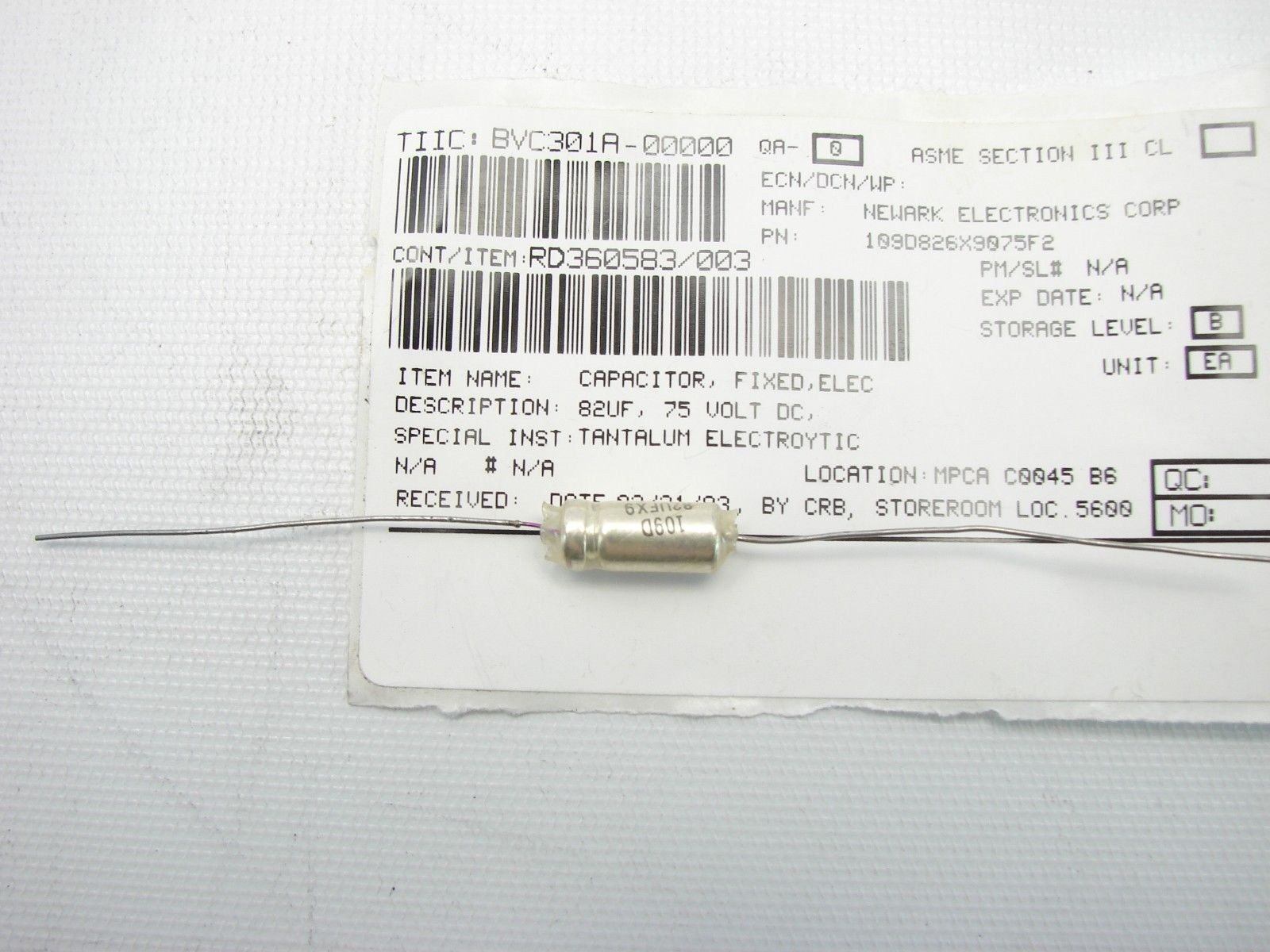 Vishay 109D826X9075F2 Tantalum Capacitor, Sintered Anode