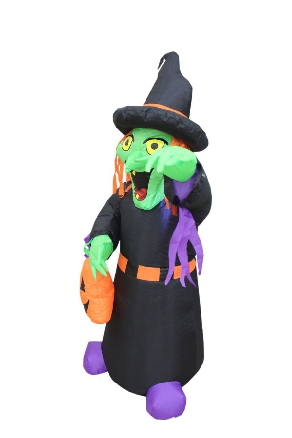 4 Foot Tall Halloween Inflatable Witch With Pumpkin Bag