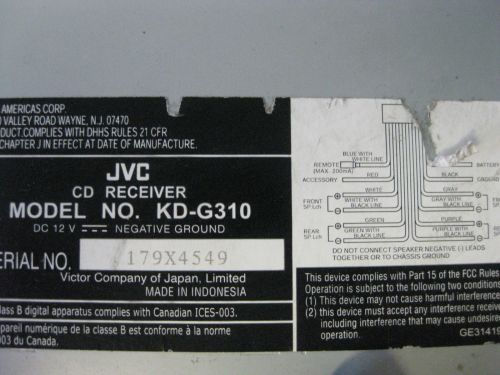 small resolution of nissan maxima gle 1998 car stereo cd player in dash receiver only jvc kd g140
