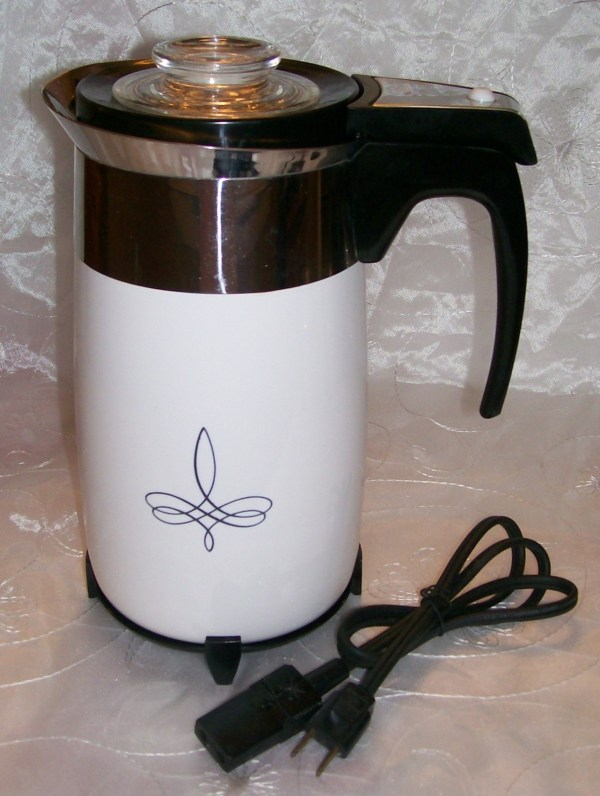 Corning Ware Trefoil Electric Coffee Pot Percolator 10 Cup