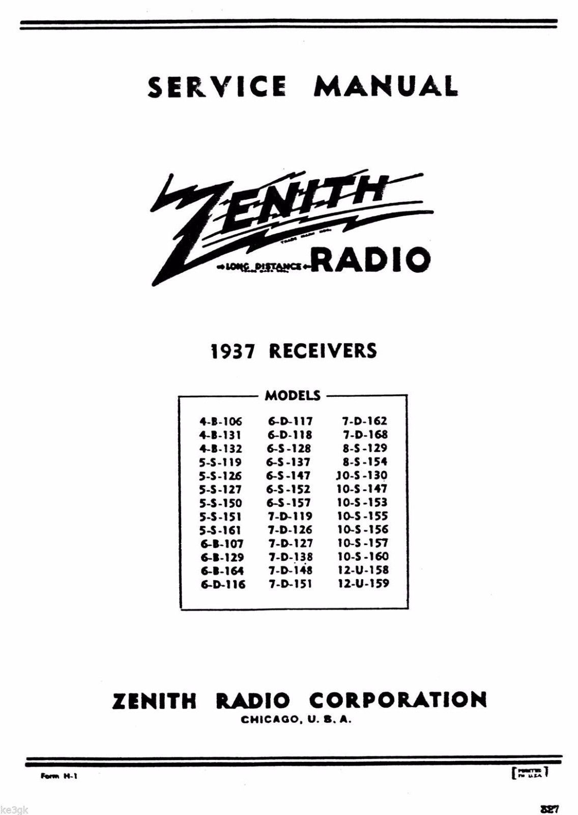 1937 Zenith Receivers Service Manual and and 50 similar items