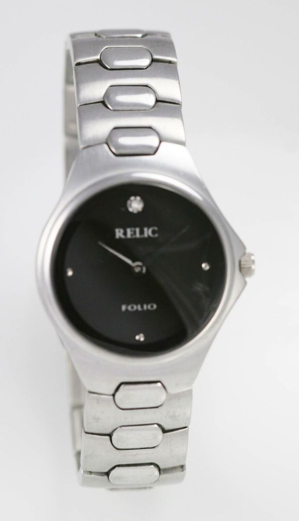 Relic Men' Black Stainless Steel Silver 30m Quartz