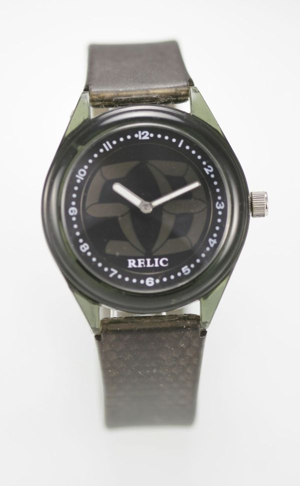 Relic Watch Mens Green Plastic Gray Rubber Battery Easy