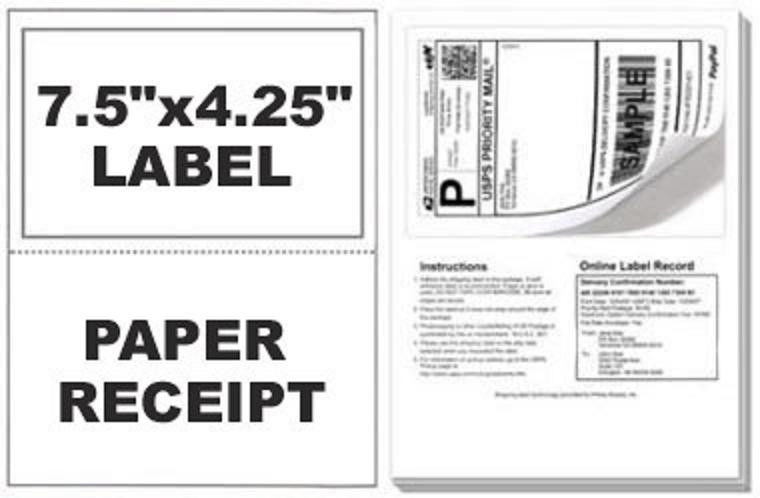 500 Labels Adhesive Tear off Paper Receipt Best for Paypal