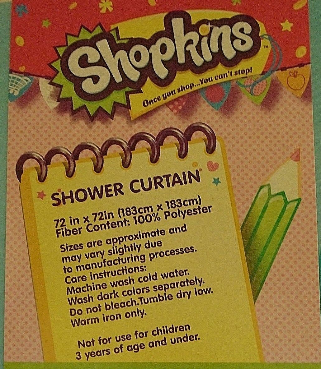 New Shopkins Fabric Shower Curtain 72 In X And 50 Similar Items