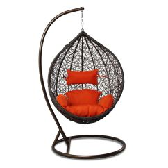 Hanging Chair And Stand Purple Bean Bag Chairs Rattan Outdoor Wicker Egg Shape Porch