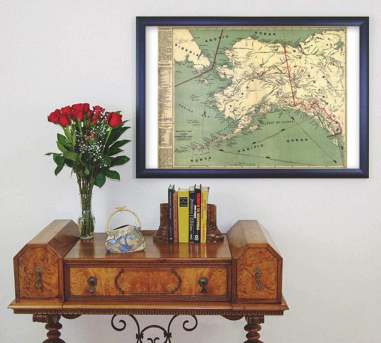 Gold Rush Map Alaska Klondike Gold Fields Vintage