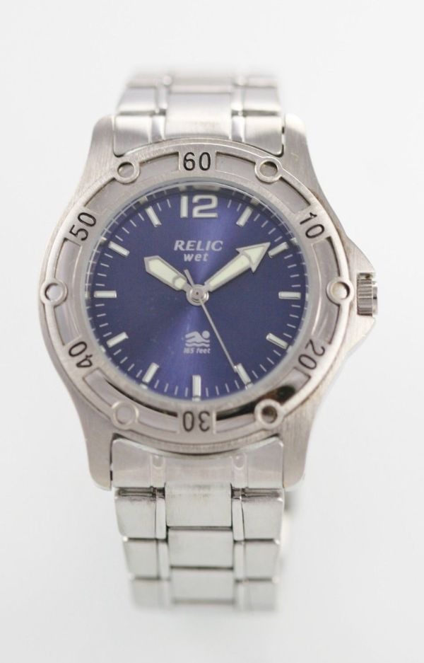 Relic Watch Mens Blue Stainless Steel Silver 50m Water