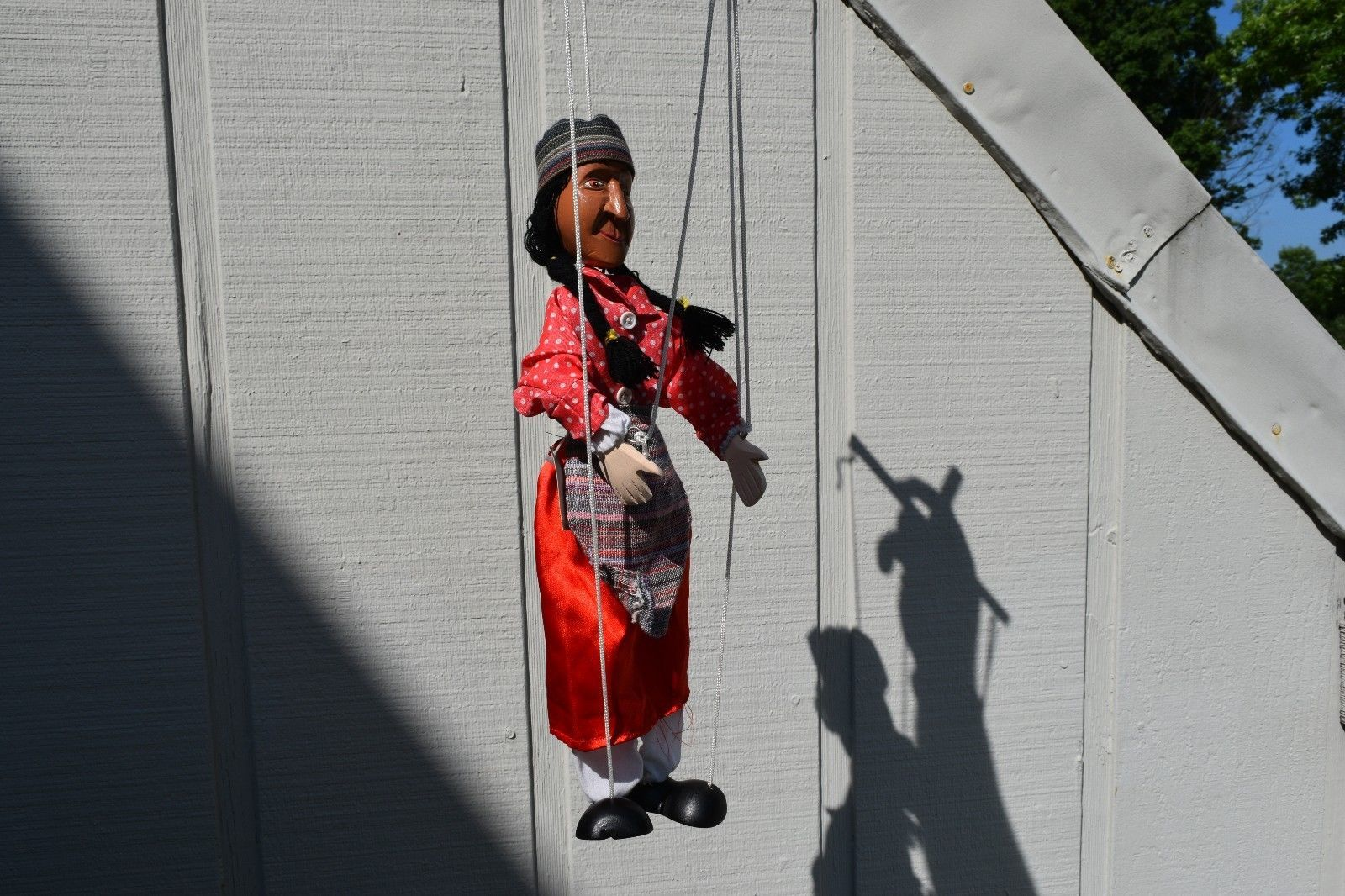 16 Native American Indian Wooden 4 String Marionette