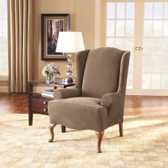 Taupe Chair Covers Top Rated Beach Chairs Sure Fit Stretch Pique Wing Slipcover