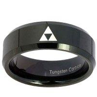 8mm Zelda Triforce Beveled Edges Black Tungsten Carbide ...