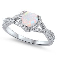 Sterling Silver .925 CZ Opal Infinity Heart Halo Band