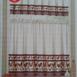 French Country Blue And Red Rooster Kitchen Curtain Valance