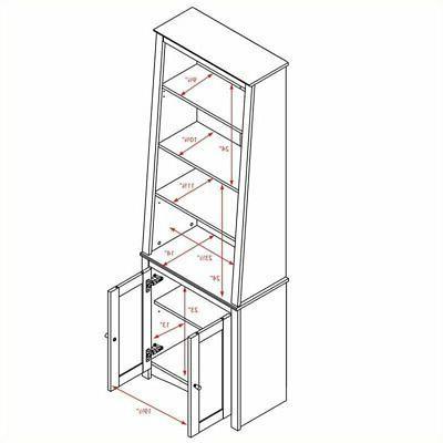 Bowery Hill 4 Shelf Slant-Back Bookcase with Doors