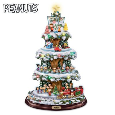 A PEANUTS Christmas Rotating Tabletop Tree With Lights
