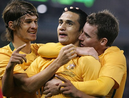 Tim Cahill of Australia celebrates his goal against Oman.