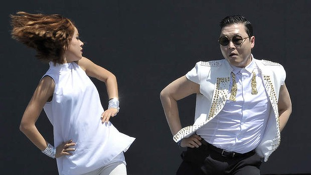 "South Korean singer Psy performs his hit single ""Gangnam Style""."
