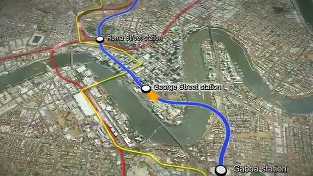 A screengrab from the fly-through of the new Brisbane Underground Bus and Train (UBAT), announced by the state government on Sunday.