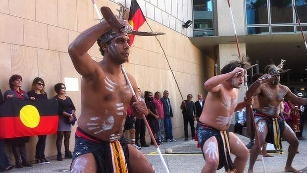Dancers from the Nunukul Jagera people outside the Commonwealth Law Courts in Brisbane on June 6, 2014