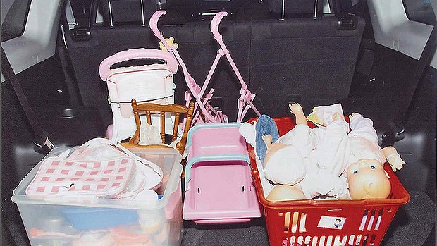 Police photograph of toys in the boot of Allison Baden-Clay's car.