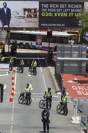A strong police presence on Brisbane streets for the G20 meeting.