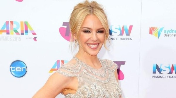 Kylie Minogue was dressed to kill in a cream, lace frock with a high-low hemline at the ARIA Awards 2015.