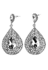 BUBBLEROOM Big drop crystal earring Silver