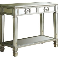 Monarch Specialties Mirrored 38 Sofa Console Table With Drawers Microfiber Contemporary Products