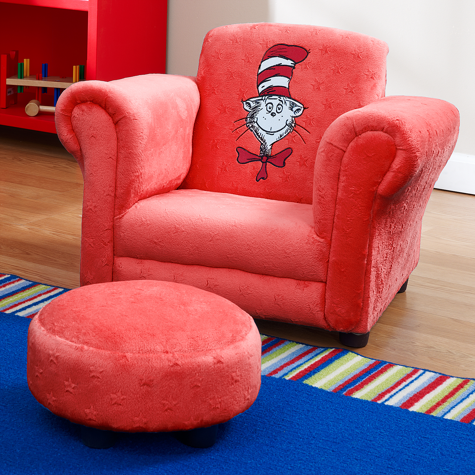 dr seuss chair wheelchair x games red velour cat in hat mini with ottoman
