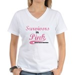 Survivors in Pink Women's V-Neck T-Shirt