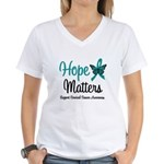 Hope Matters Cervical Cancer Women's V-Neck T-Shir