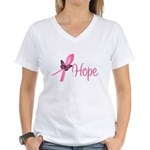 Breast Cancer Hope Women's V-Neck T-Shirt