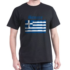 Greek Flag Black T-Shirt