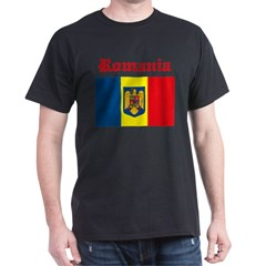Romanian Flag Black T-Shirt