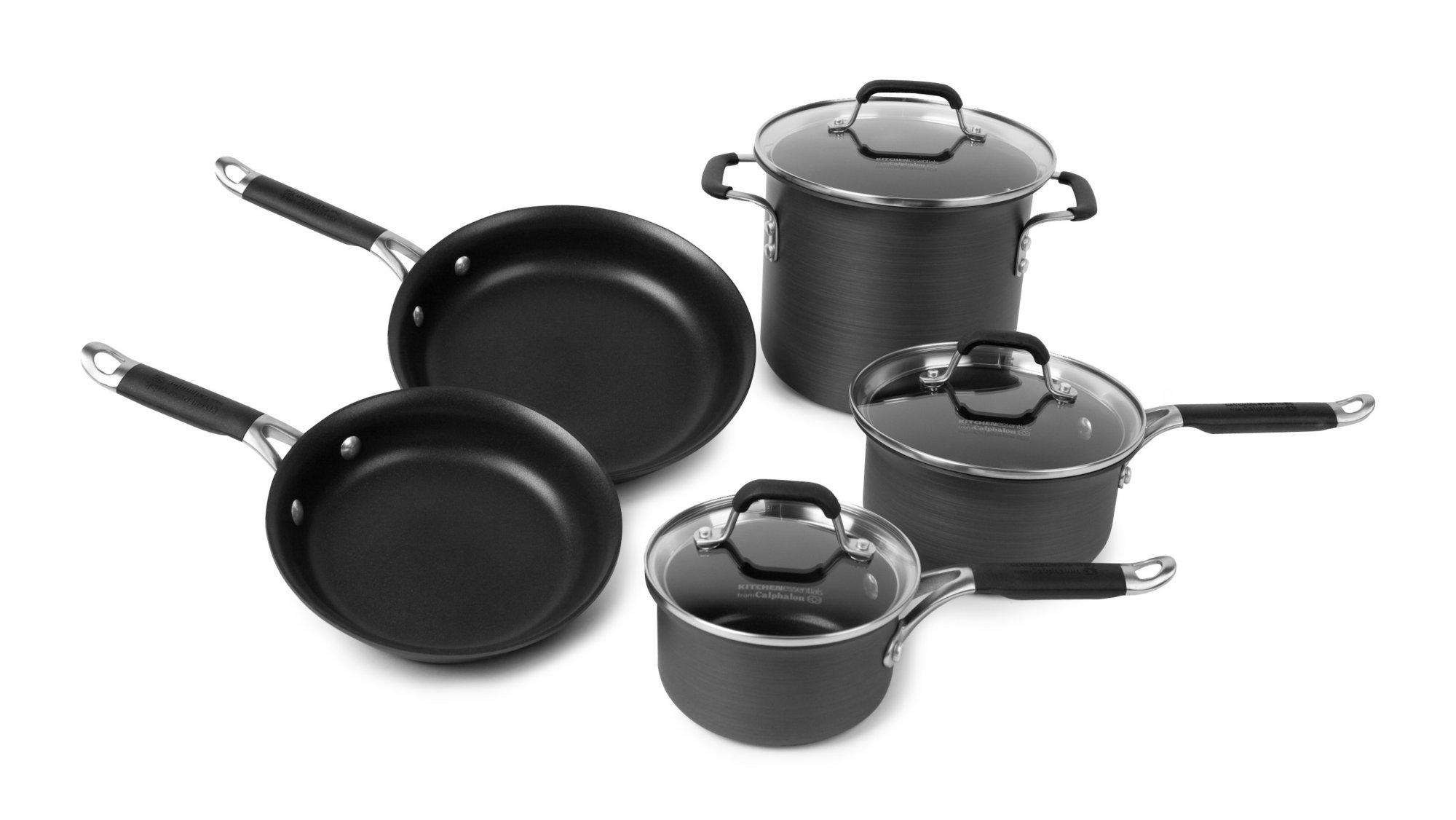calphalon kitchen essentials dutch oven cast iron sinks nonstick 8 pc cookware set