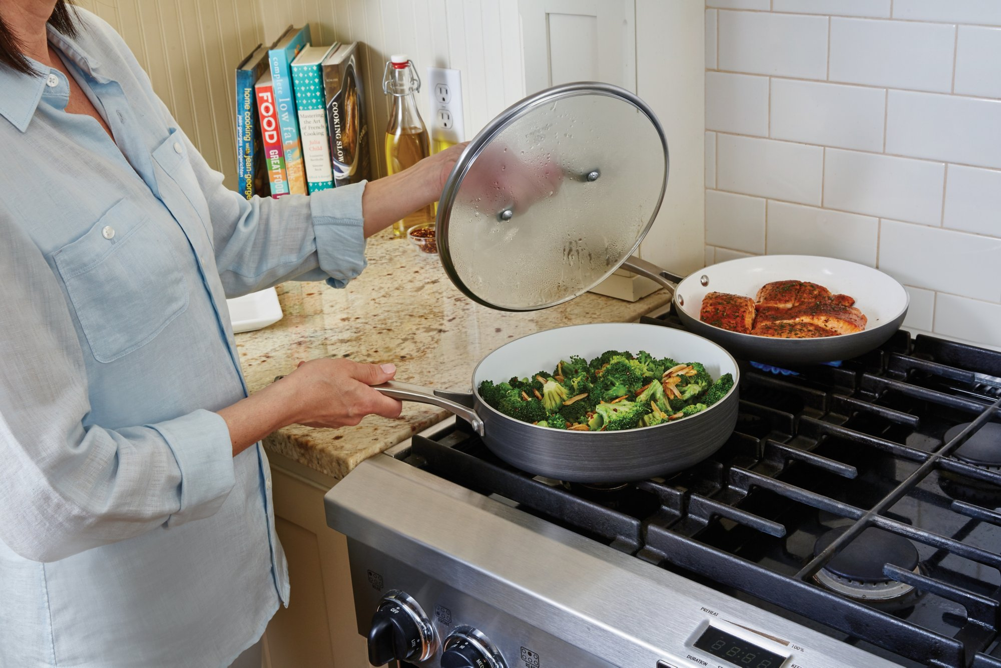 calphalon kitchen essentials countertop inserts classic ceramic nonstick 11 pc cookware set