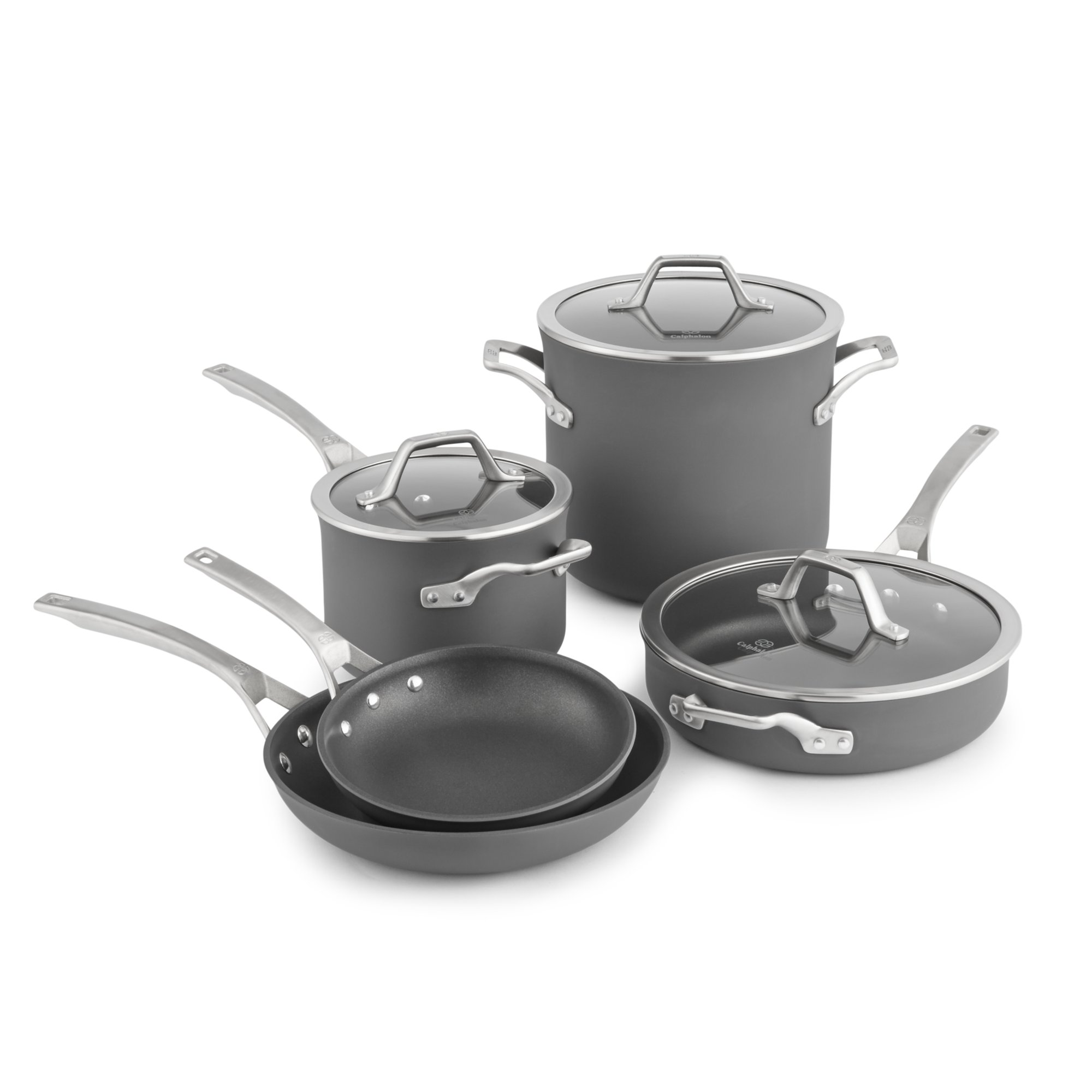 calphalon kitchen essentials stainless steel clogs signature nonstick 8 pc cookware set
