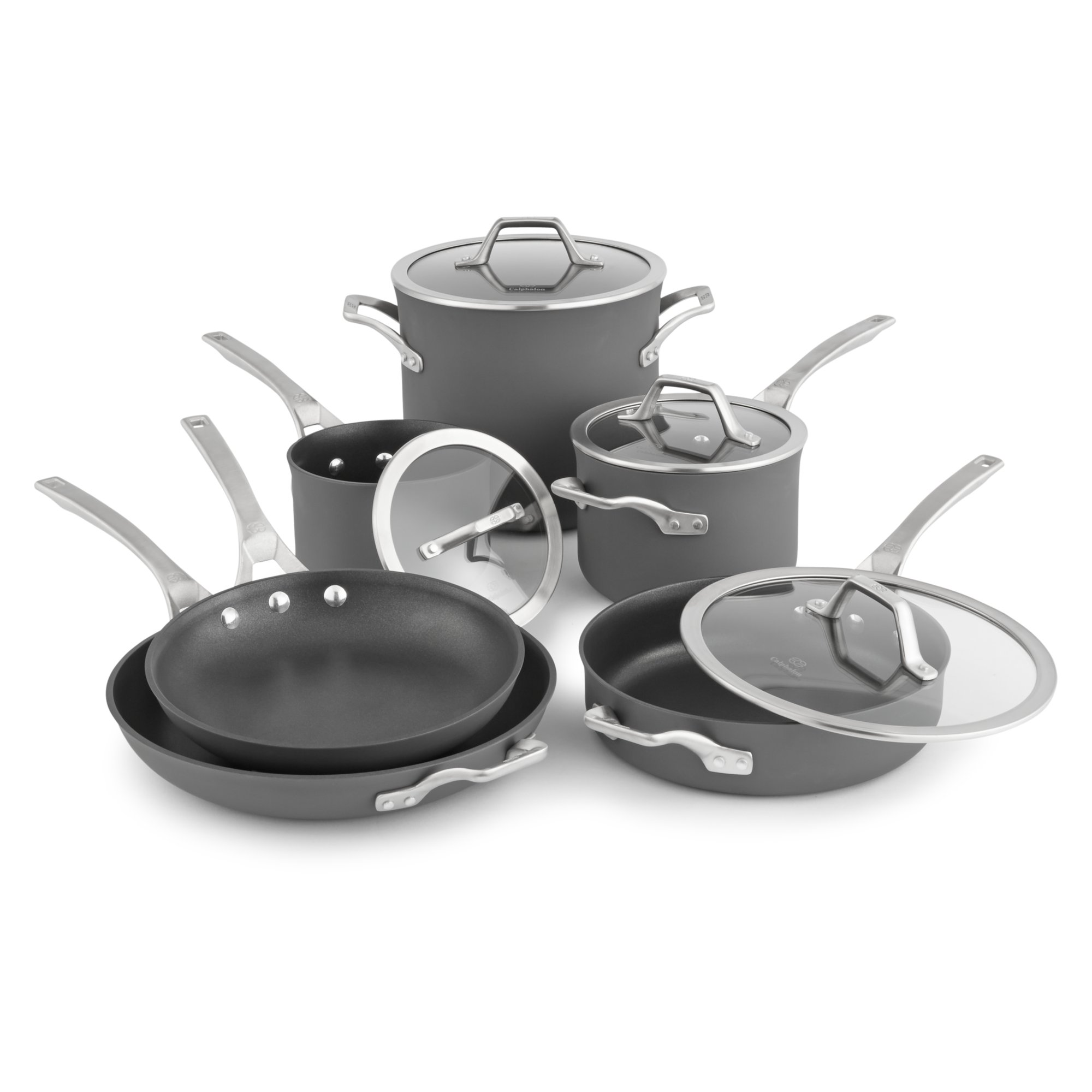 calphalon kitchen essentials stainless steel gray island signature nonstick 10 pc cookware set