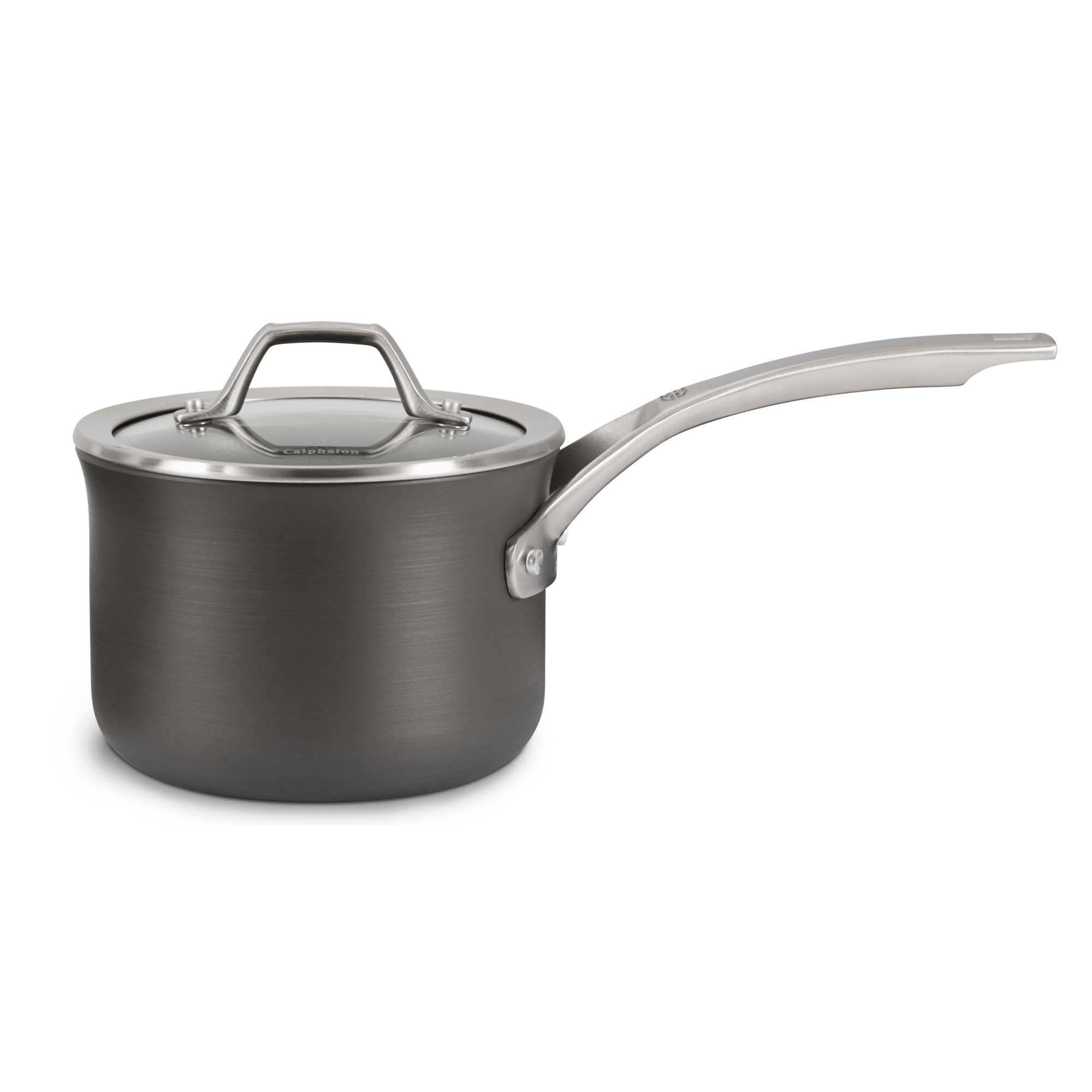 calphalon kitchen essentials stainless steel top signature nonstick 2 qt sauce pan with cover