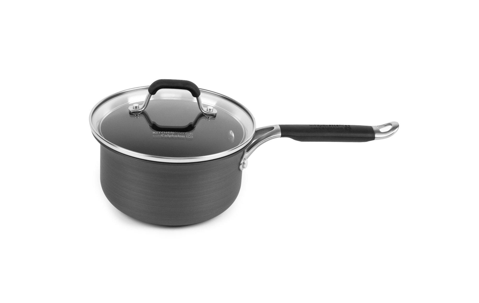 calphalon kitchen essentials dutch oven semi custom cabinets nonstick 2 qt sauce pan with cover