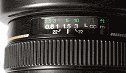 Depth of Field Markers on a Lens
