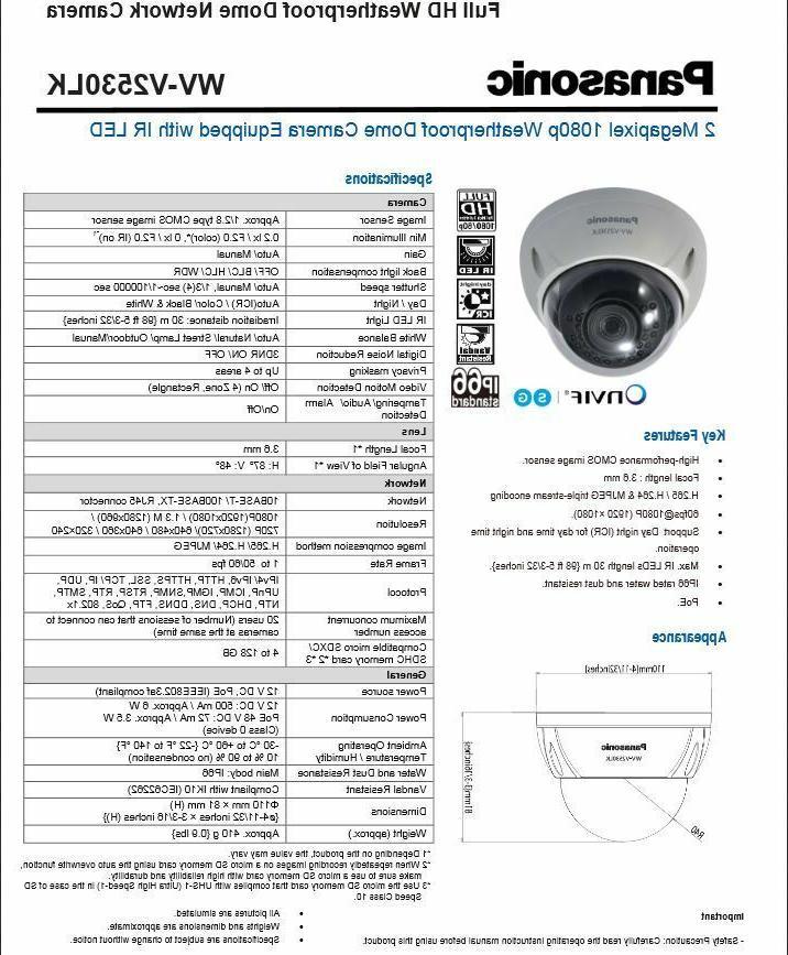 Panasonic WV-V1330LK 2MP Outdoor Poe Network Bullet IP