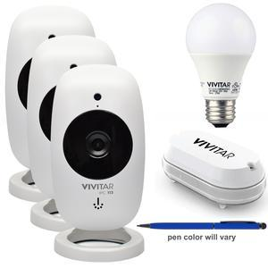 Kit includes: * 1) Vivitar IPC113 Wi-Fi Smart Home 1080p HD IP Security Camera * 2) Additional Vivitar IPC113 Wi-Fi Smart Home 1080p HD IP Security Camera * 3) Additional Vivitar IPC113 Wi-Fi Smart Home 1080p HD IP Security Camera * 4) Vivitar WT12 Wi-Fi Smart Home Water Leak Sensor * 5) Vivitar LB-95 Wi-Fi Smart Home 800 Lumens LED Soft White Bulb * 6) Wireless Gear Touch Screen Stylus PenAlways know whats going on in your home with the Vivitar IPC113. Everything you need to stream live video  record in HD and capture still images and videos remotely is included with your camera and the accompanying online Vivitar  inchSmart Home Security inch application. Features include: night vision; motion detection; two-way intercom; full HD 1080p resolution; microSD memory card slot; cloud storage; easily connects to your smartphone or tablet. iOS  Android  Alexa  Google Home & IFTTT/Nest compatible.The Vivitar WT12 Wi-Fi Smart Home Water Leak Sensor  a built-in Wi-Fi module with a waterproof design  detects leaks and alerts your device to prevent extreme water damage in your home. It sends alerts to your phone immediately  with simple Wi-Fi setup with the Vivitar Smart home security app which works with iOS and Android devices. The Vivitar LB-95 Wi-Fi Smart Home 800 Lumens LED Soft White Bulb is ideal for your home. Whether a party or a candlelit dinner  this LED bulb is sure to set the perfect ambience by allowing you to dim the light via the app. The Wireless Gear Stylus Pen is a handy tool for easily navigating capacitive touch screen devices without leaving it covered in fingerprints. Simply hold the barrel of the pen and use the soft rubber tip to swipe  tap and write. The other end features a standard black ink pen for jotting notes on any paper surface.
