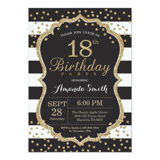 18th birthday invitation black and