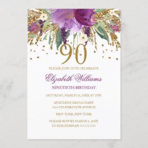 amethyst purple birthday invitations