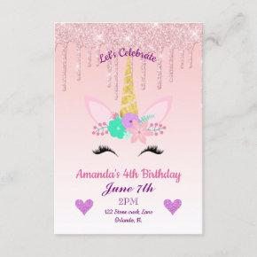 unicorn 7th party birthday invitations