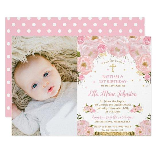 pink floral baptism 1st birthday party