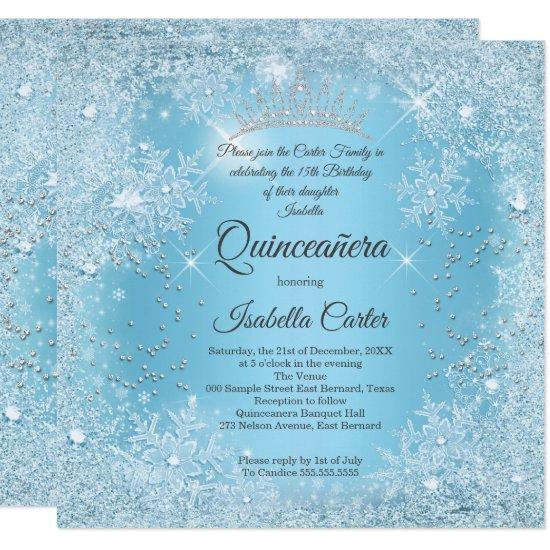 quinceanera 15th blue snowflake winter