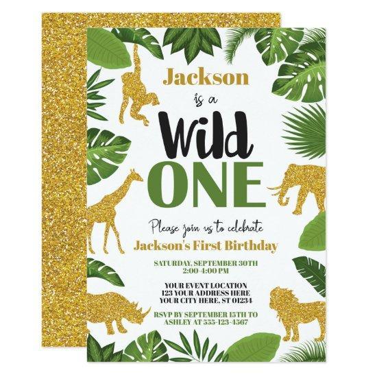 wild one safari 1st birthday invitation